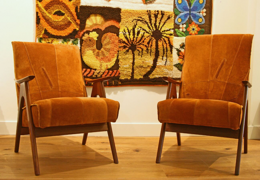 Mr and Mrs suede armchairs 2012